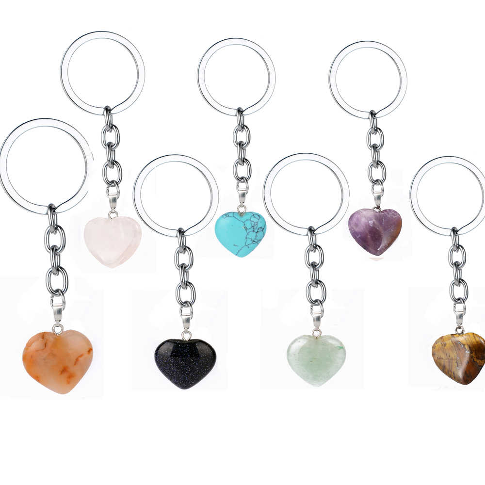 Rose Pink Natural Heart Stone Keychain Crystal Quartz Healing Stone Chakra Heart Key Chain Ring Keyring Jewelry Gift