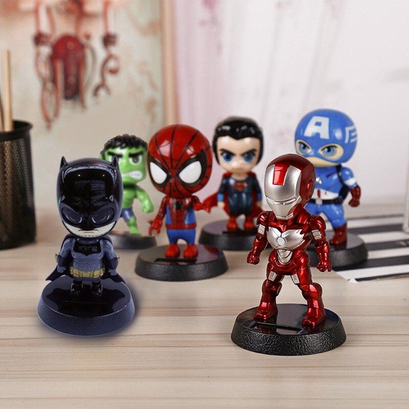 DE alma para Marvel vengadores héroes figura decoración del coche Solar animación muñeca adornos coche regalos creativos del tablero DE la muñeca