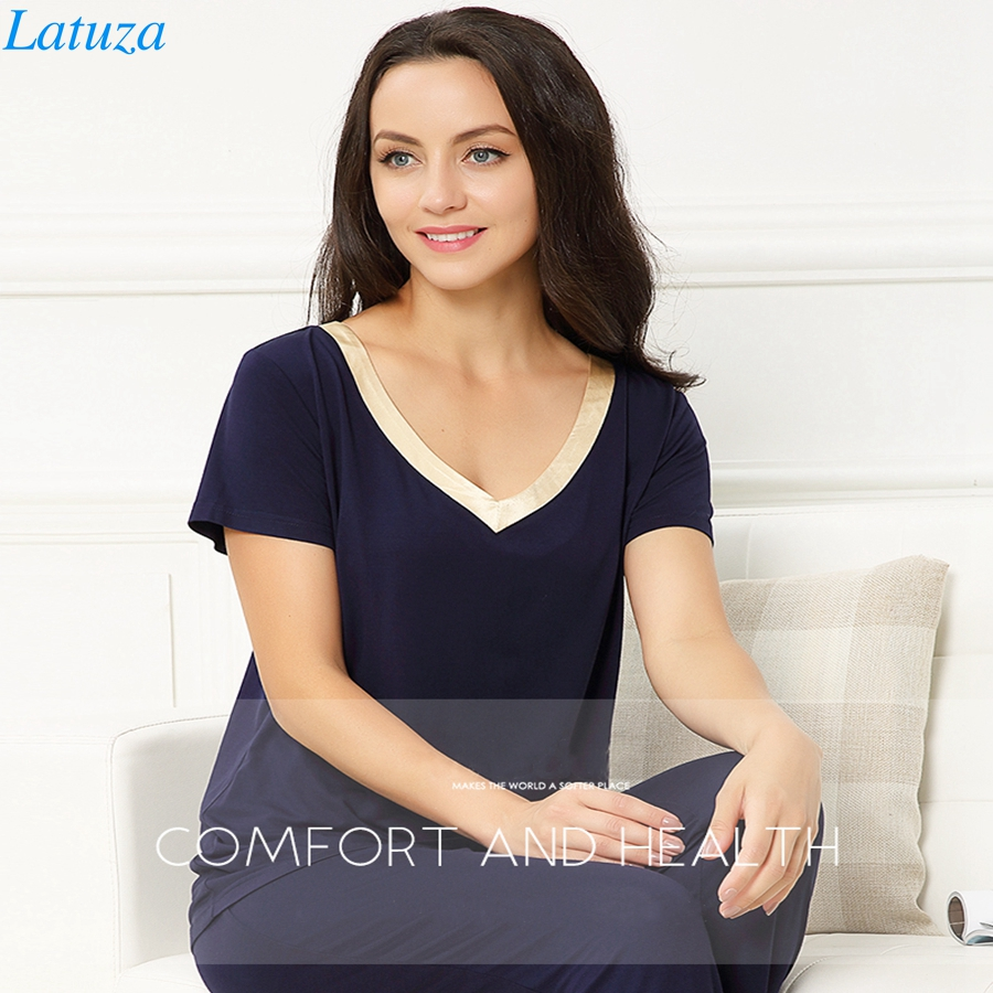 d0fd29924 Plus Size 4XL Women Pajamas Set Summer V-neck Shirt With Capri Pants  Sleepwear Set For Sleep Night Suit Home Wear Pyjamas femme