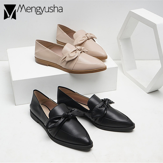 d16bfbbf3ed famous brand british flat oxford shoes woman beauty bow decorate  espadrilles woman autumn loafers pointed toe flat single shoes