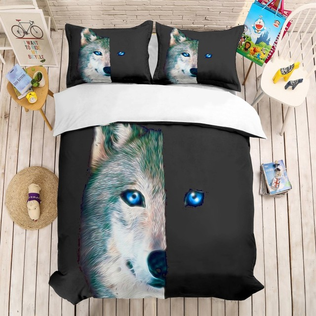 Twill Полный Королева Король половина волка лицо 3D печать постельных принадлежностей животных постельное белье пододеяльник наволочки 3 шт. одеяло наборы постельного белья