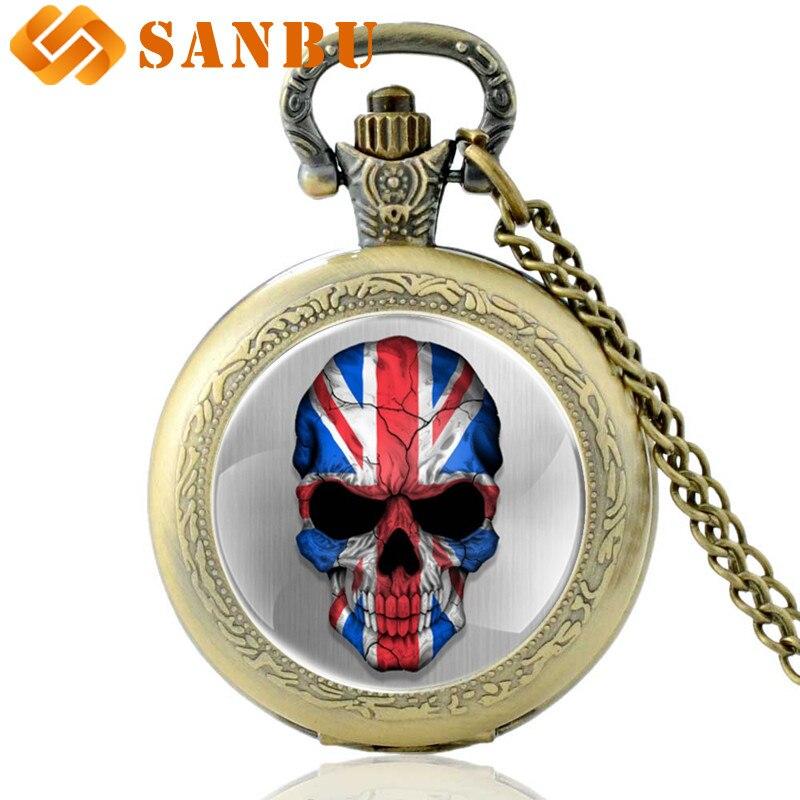 Classic Bronze United Kingdom Flag Skull Quartz Pocket Watch Retro Men Women Skeleton Punk Pendant Necklace