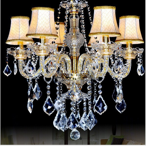 Fast Shipping 6 Bulbs European Candle Modern Crystal Chandelier Ceiling Bedroom Living Room Hotel Decor Light Fixture E14 Lamp modern crystal chandelier led hanging lighting european style glass chandeliers light for living dining room restaurant decor