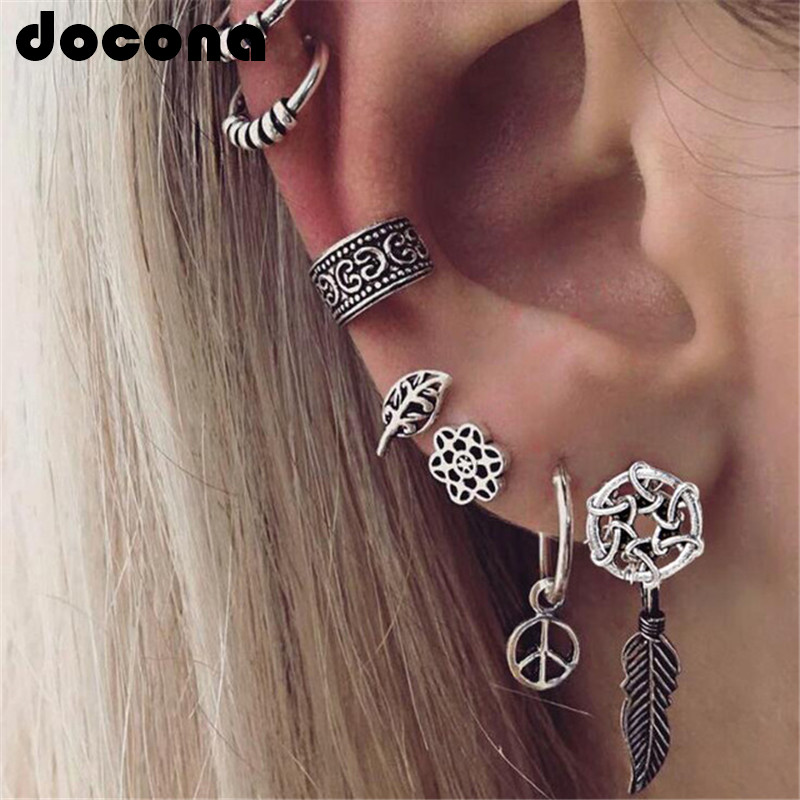 Docona Tribal Silver Hollow Leaf Flower Feather Shape Stud Earring Set For Women Punk Carved Ear Climber Party Jewelry 5987