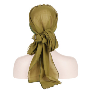 Image 3 - Helisopus Solid Color Pre Tied Arab Indian Turban Muslim Headwear Women Chiffon Hijab Cap Bandanas Headscarf Hair Accessories