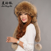 Women Genuine Raccoon Fur Hats Caps Female Bomber Hat Trendy Winter Scarf Hat for Russian Women Real Raccoon Fur Hat