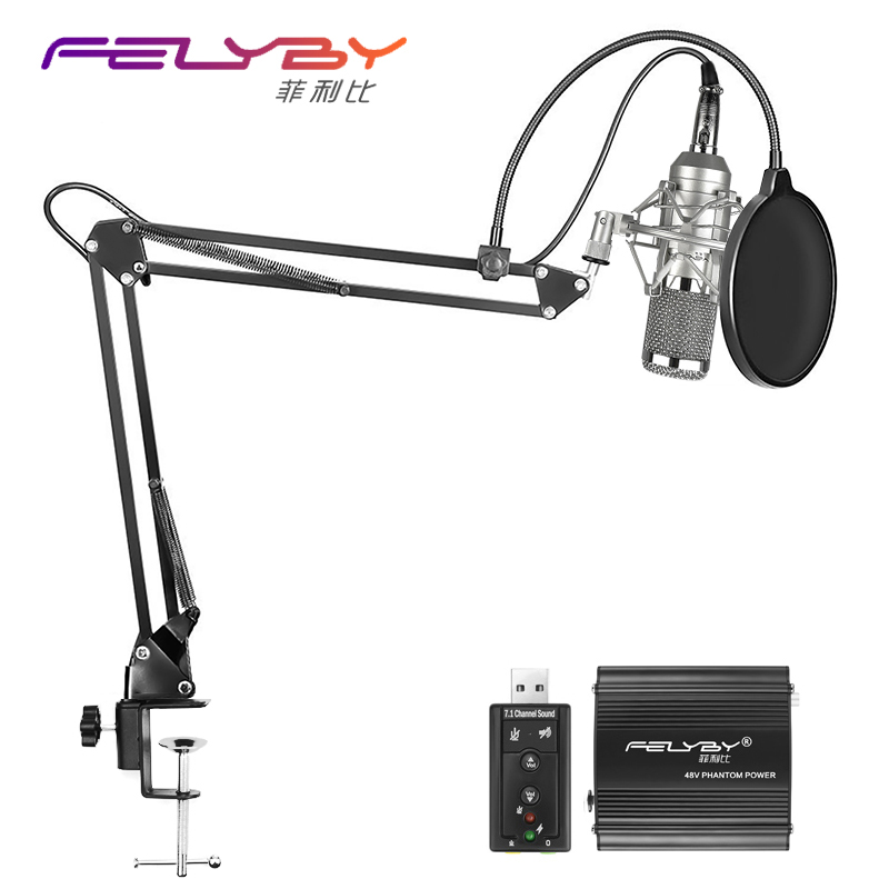 Hot Professional full set of meals BM 800 Condenser microphone Phantom power USB sound card Recording studio KTV/PC Microphone heat live broadcast sound card professional bm 700 condenser mic with webcam package karaoke microphone