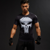 Skull Short Sleeve 3D T Shirt Men Crossfit Tops Captain America T Shirt Superhero Superman Tshirt