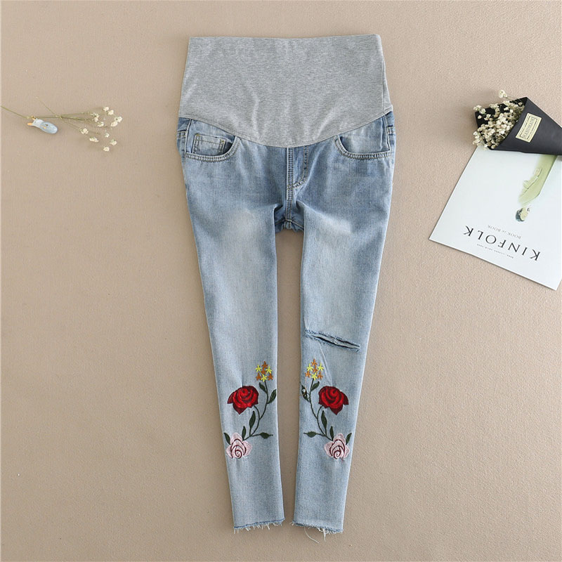 Maternity Embroidered Denim Pant Maternity Elastic Jeans Trousers Comfortable For Pregnant Women Capri pants Tight trousers ...