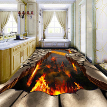 3D Volcanic Lava Floor Wallpaper PVC Waterproof Mural Wall Paper