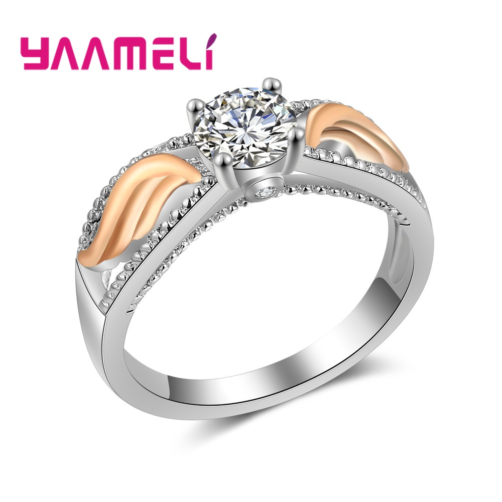 Real Solid 925 Sterling Silver Ring Lady Fancy Shinning Zircon Wedding Jewelry Rings Engagement