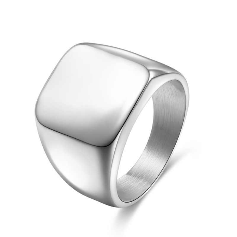 Double Eagle Titanium Steel Trendy Rings Square Big Width Signet Rings Man Finger Men Cocktail Ring Accessories Jewelry