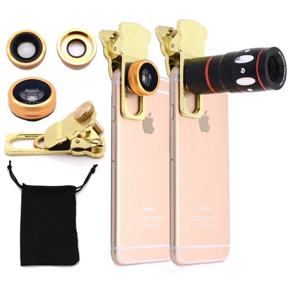 imágenes para 4 en 1 lente de la cámara kit Ojo de Pez + Gran angular + Macro + 10x lente Del Telescopio lente pinza universal para iPhone HTC android ios CL-3-LX