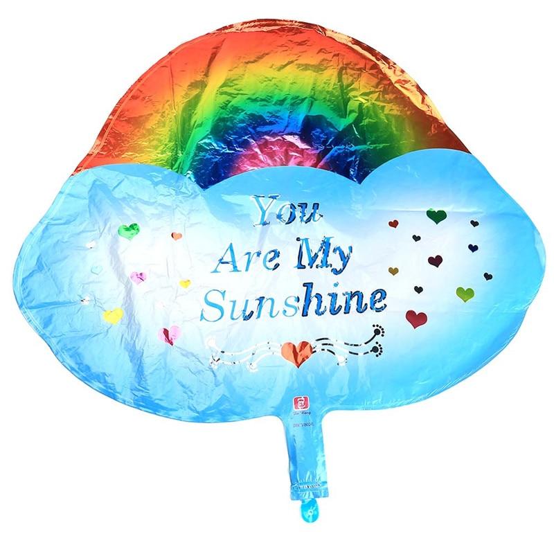 New Wedding Birthday You Are My Sunshine Rainbow Cloud Aluminum Balloon