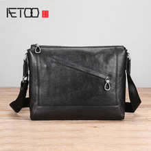 AETOO Men's bag Leather single shoulder bag male trend fashion casual oblique cross Baotou layer cowhide bag