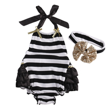 Newborn Baby Clothes Striped Baby Girls Cotton Clothes Bodysuit Jumpsuit Hairband Sunsuit Outfit Sets
