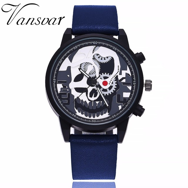 Vansvar Brand Men Unique Pirate Skeleton Skull Quartz Watches Luxury Leather Men Sports Watch Relogio Masculino Dropshipping
