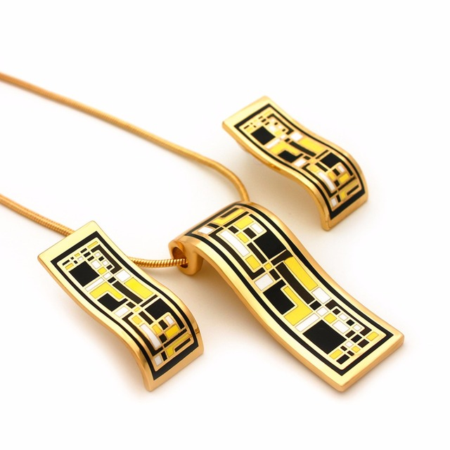 Top Quality Vintage french Enamel Gold Jewelry Set Women Necklace