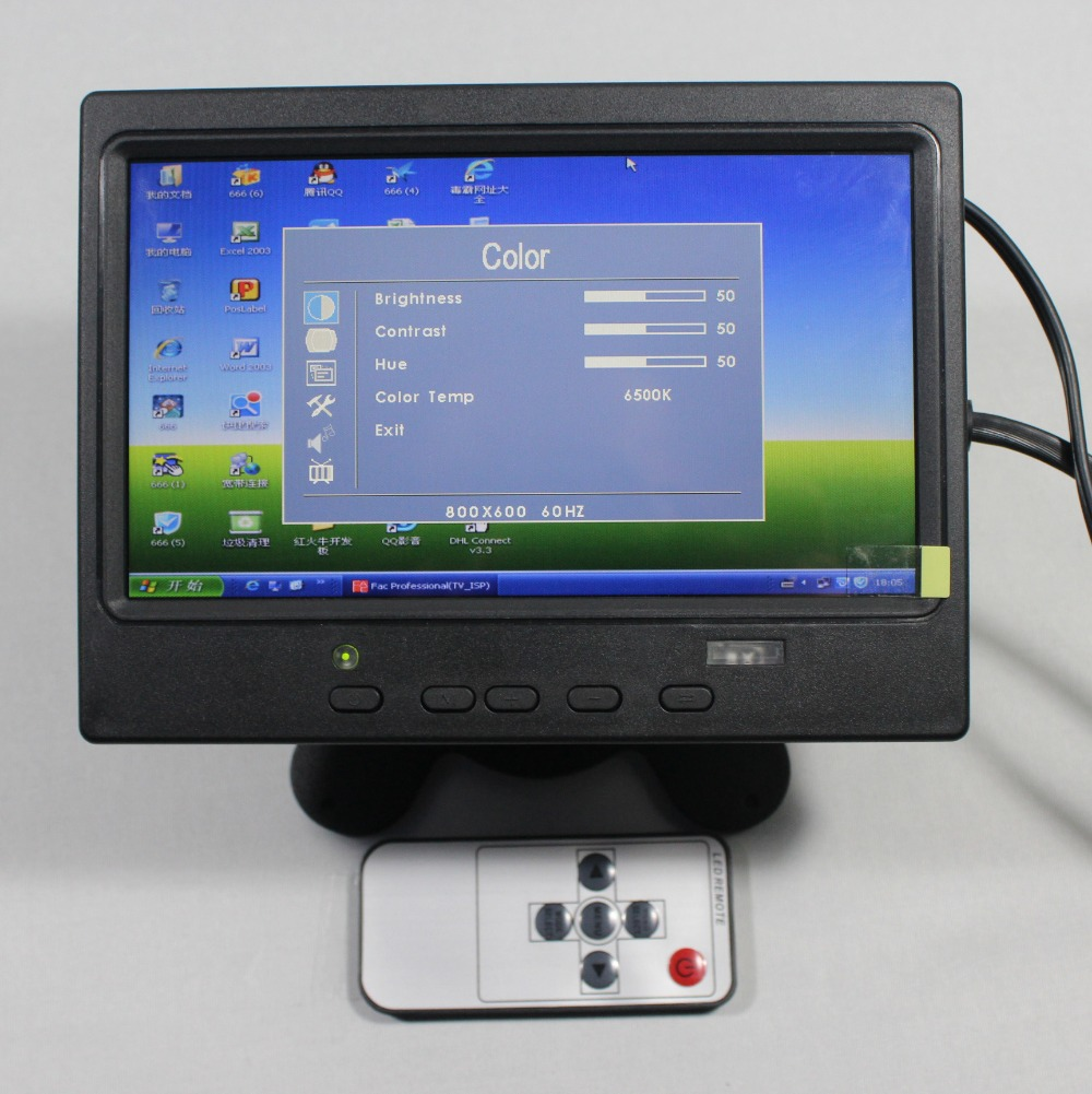 7inch Lcd monitor 800x480 with HDMI+VGA+AV input signal +Europe Power supply for bus and desk monitor VS-T0701ENB-V1