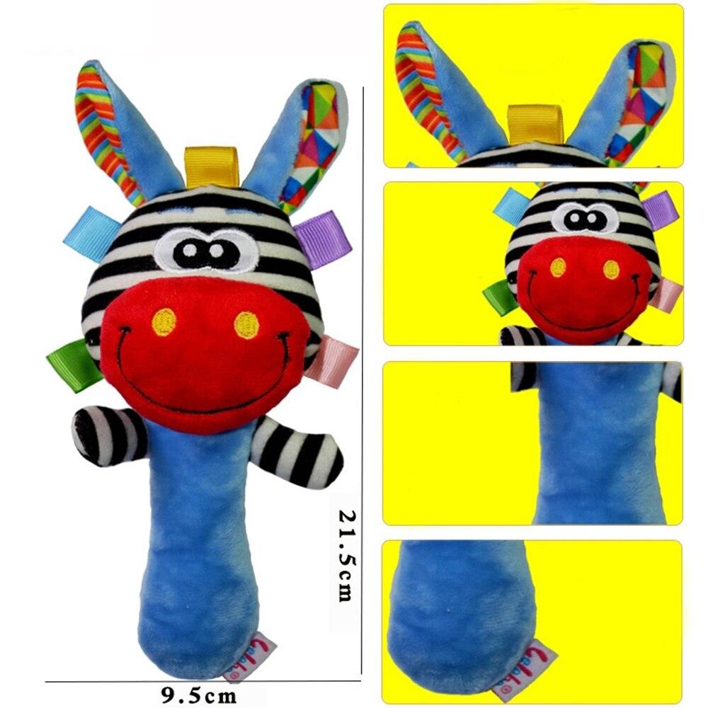 Drop ship Baby Rammelaars Baby Speelgoed Leuke Cartoon Dier Hand Bell Rammelaar Zachte Peuter Pluche Mobiles Speelgoed 0-12 maanden 2