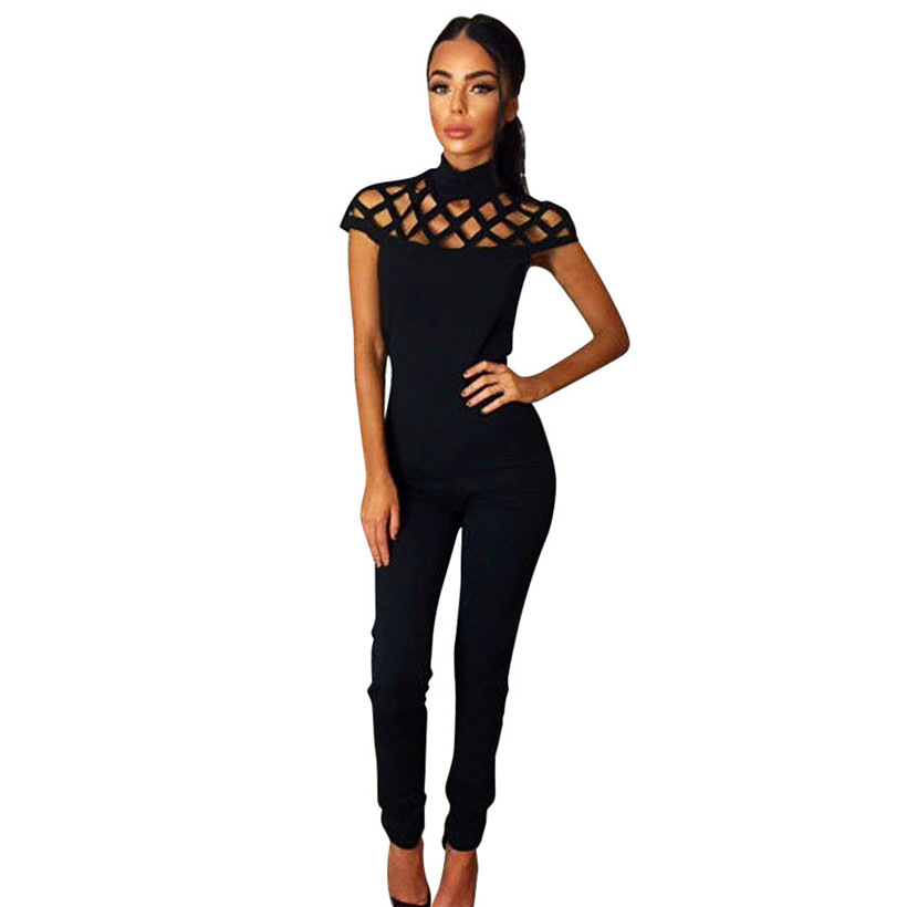 2017 Womens Playsuits Long Jumpsuits Rompers Choker High Neck Caged Sleeve W427