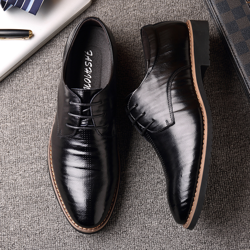 2018 New Black Wine Red Mature Men's Shoes Dress British Youth - Men's Shoes - Photo 6