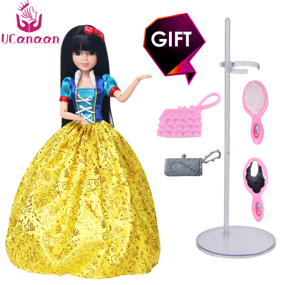 UCanaan Princess Dolls Snow White Doll 3D Lifelike Eyes Long Thick Hair with Comb and Mirror Doll Accessories Best Gift for Girl disney princess brass key 2003 holiday collection porcelain doll snow white