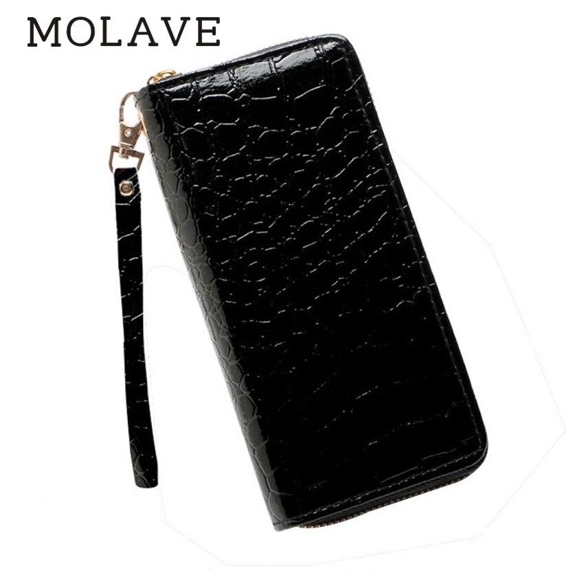 MOLAVE walletswallet female Solid card holder Zipper Fashion Women Stone Road Wallet Coin Bag Purse Phone Bag Handbags Feb9