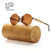 AN SWALLOW 2018 Retro Wood Grain Sunglasses Men Brand Designer Classic Bamboo Sun Glasses Men/Women Driver Metal Oculos De Sol
