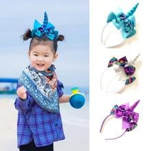 цены ncmama Hair Accessories Horn Hair Band for Girls Sequin Hair Bows Flower Festival Unicorn Party Headband Ears Hairband for Kids