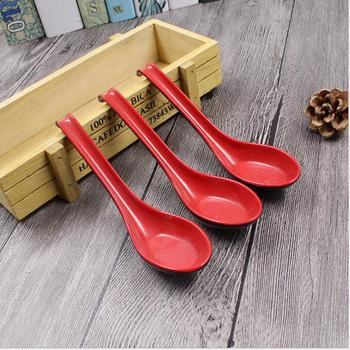 DHL free shipping 200pcs/set Red Black Color Home Flatware Japanese Plastic Bowl Soup Porridge Spoon