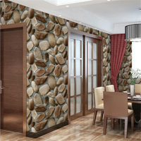 Beibehang 3D Wallpaper Simulation Cobbled Stone Wall Stone Three Dimensional 3D Rock Living Room Bedroom Background