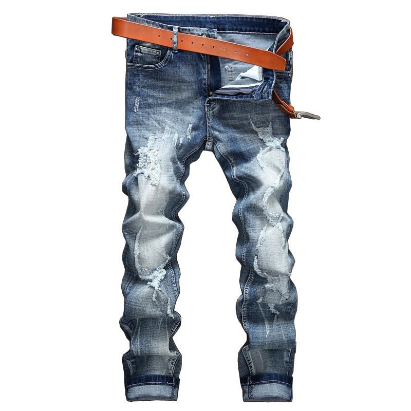 Men's Restore Ancient Ways Man Holes Directly Cuffless Trousers Male Leisure Time Tide Brand Wear Men mens Jeans jean slim homme