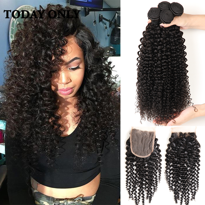 Peruvian Virgin Hair with Closure 10A Grade Virgin Unprocessed Human Hair with Closure Afro Kinky Curly Virgin Hair with Closure