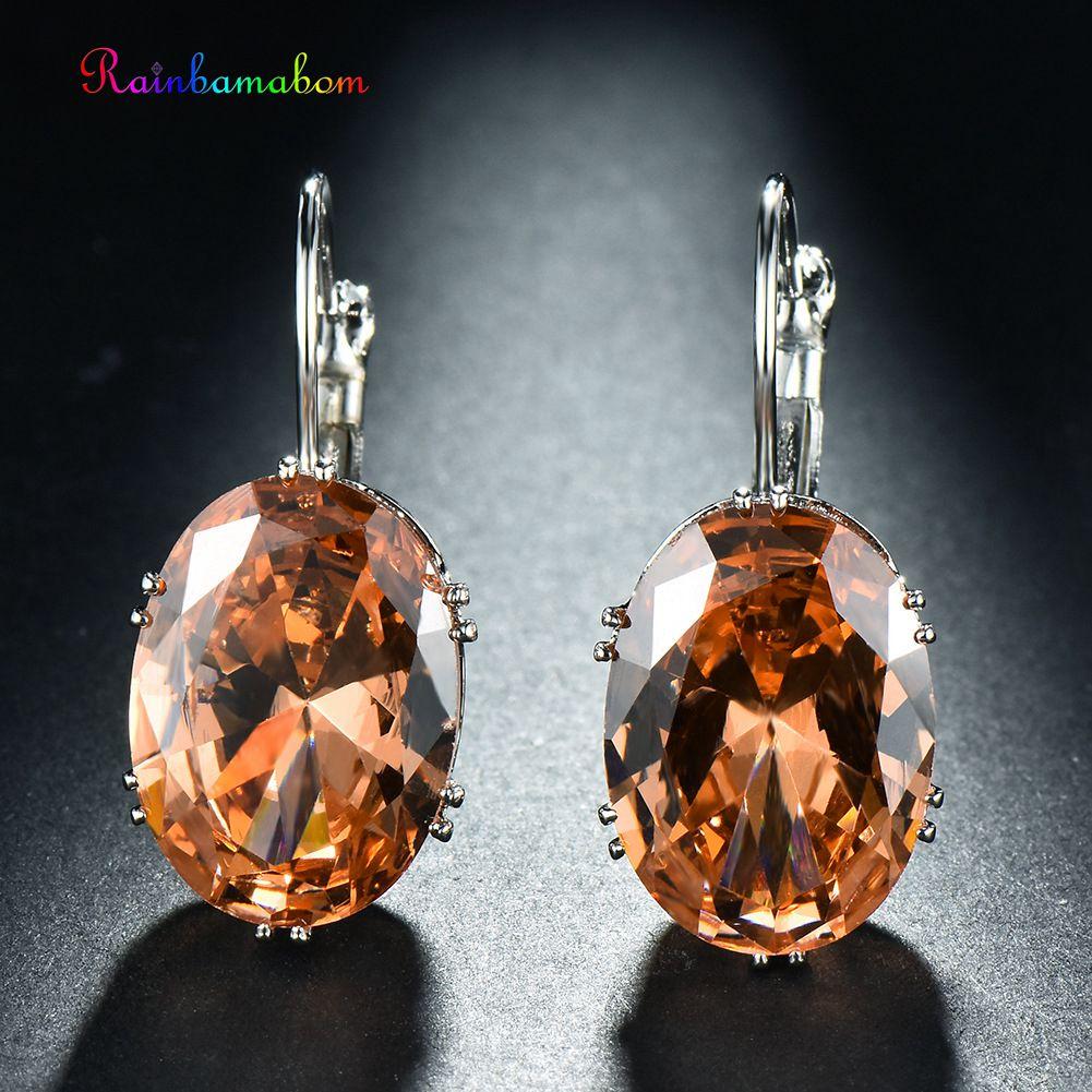 Rainbamabom Hoop-Earrings Morganite Gemstone Solid-Sterling-Silver Fine-Jewelry 925 Women