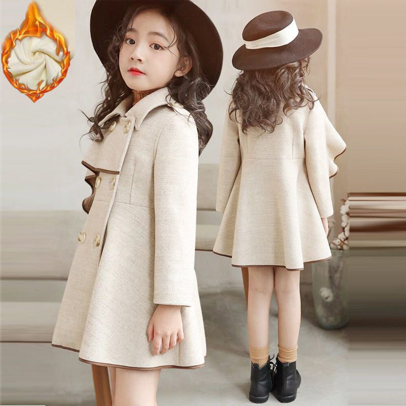 Autumn Winter Fashion Baby Girl Solid Color Woolen Coat Children Thick Velvet Warm Long Outerwear Kids Cloak Button Jacket Q27Autumn Winter Fashion Baby Girl Solid Color Woolen Coat Children Thick Velvet Warm Long Outerwear Kids Cloak Button Jacket Q27