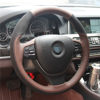 Black Suede Palm Red Genuine Leather Car Steering Wheel Cover for BMW 730Li 740Li 750Li F10 2014 520i 528i 2013 2014