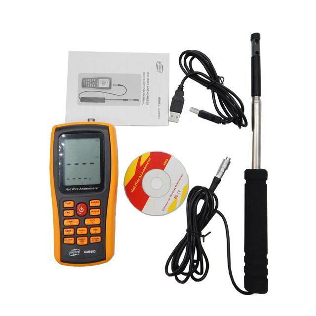 GM8903 (con caja) Anemómetro Digital Viento Speed Meter Anemómetro Velocidad Del Viento Medida GaugeTemperature Interfaz USB