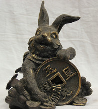 "S5917 9"" Chinese Bronze Folk Zodiac Year Rabbit money wealth Yuan Bao Statue Feng Shui D0318(China)"