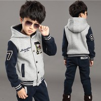 Foreign Trade 2019 Fall Winter Boys Baseball Uniform 2 Pcs Set Children Thickening Sweater Suit Kids Spliced Sports Clothes X292