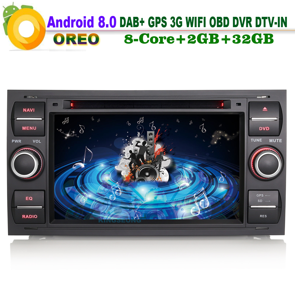 Android 8.0 DAB+Autoradio WiFi 3G RDS GPS OBD Bluetooth Radio DTV-IN WiFi Sat Navi Car CD Player for Ford Focus Connect Fiesta