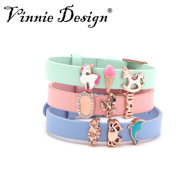 Vinnie Design Jewelry Genuine Leather Wrap Bracelet Slide Charms Keeper Bracelets with Rose Gold Buckle