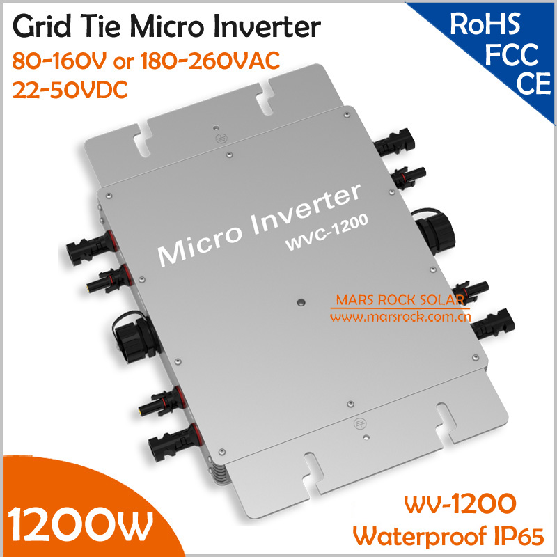 цена на IP65 Waterproof 1200W Micro Inverter with 22-50V DC to AC 80-160V or 180-260V Grid Tie Solar Inverter for 4pcs 300W 36V PV Panel