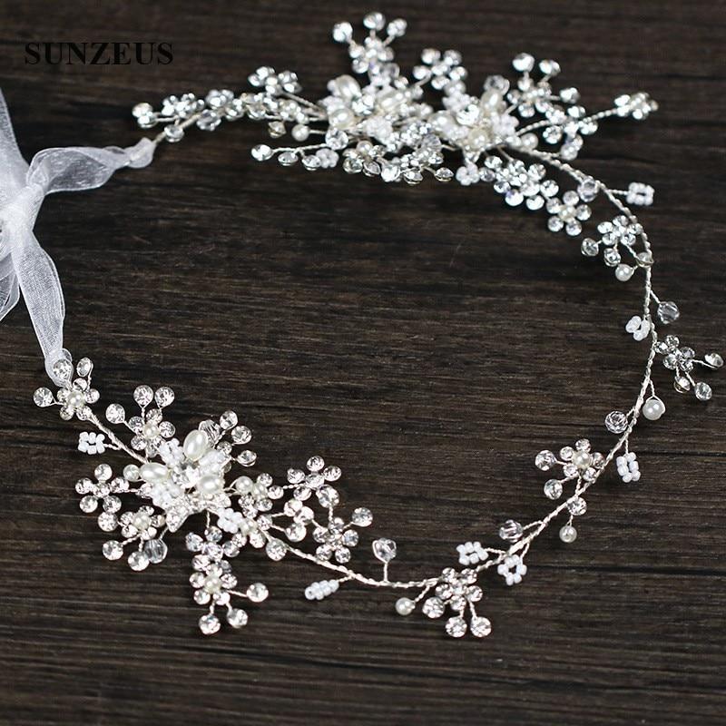 Shinny Silver Crystals Bridal Head Sash With Pearls Luxury Hand-made Wedding Headband For Brides SQ0239