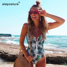 2019 New Sexy Zipper One Piece Swimsuit Women Swimwear Push Up Monokini Bodysuit Swimsuit Print Bathing Suit Summer Beachwear XL(China)
