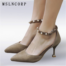 Plus Size 34-43 New Fashion women high heel sandals Summer pointed toe sexy party woman ankle Pearls strap Pumps Shoes Footwear free shipping high heel wedge shoes women sexy dress footwear fashion pumps p10800 eur size 34 43