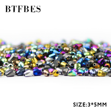 BTFBES Faceted Waterdrop Austrian crystal Beads Plating 3*5mm 100pcs Teardrop glass Loose For Jewelry Making DIY Bracelet