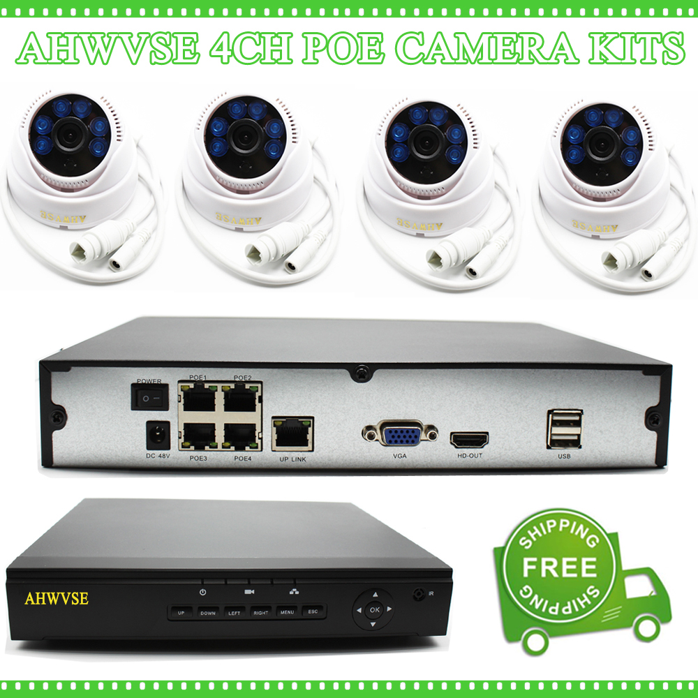 AHWVSE 4CH POE Camera System Indoor POE System Indoor POE Cam Kit with 4pcs POE 1080P IP Cam Free Shipping