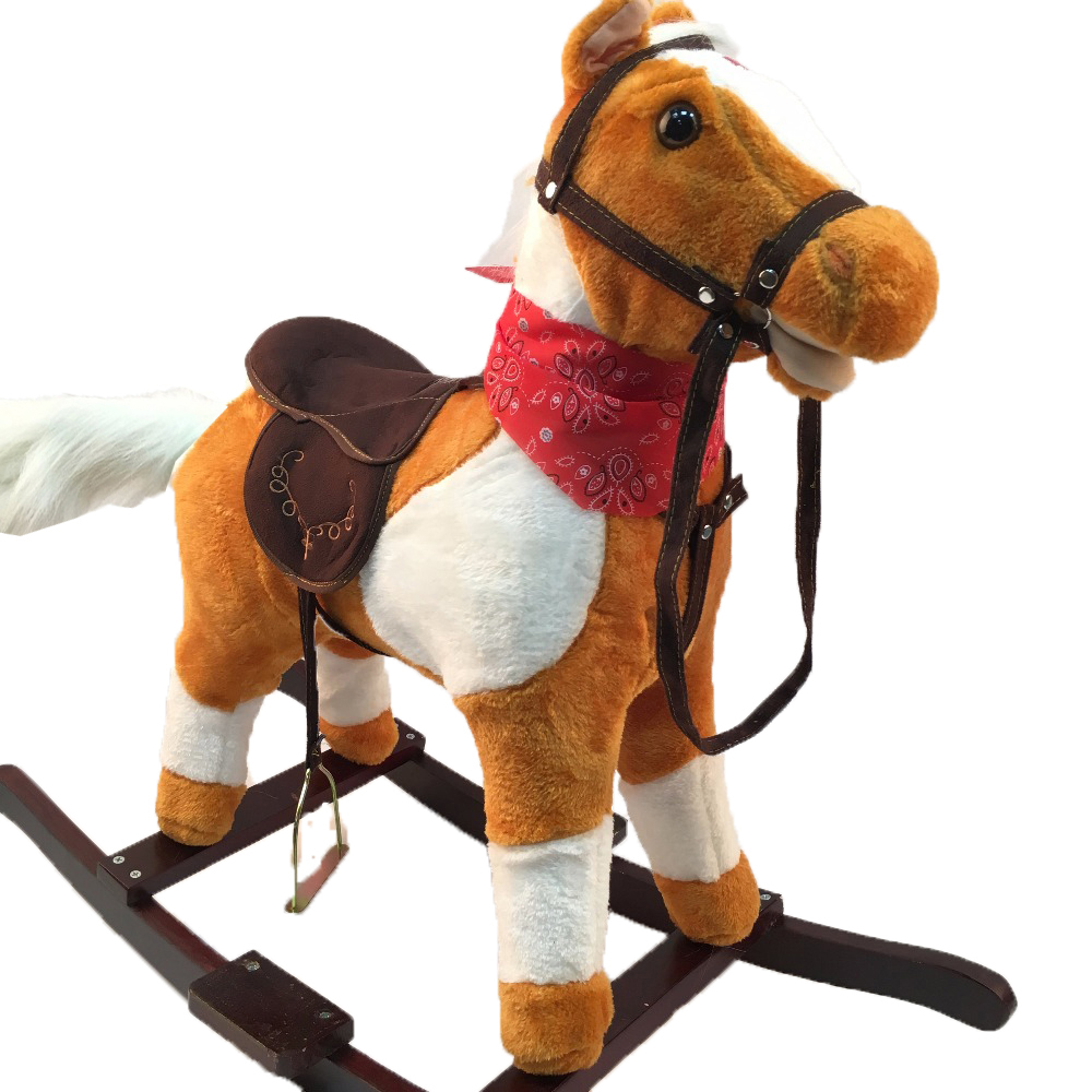 Plush Rocking Horses Toys for 3-8 Years Old Children Light Brown Wooden Musical Trojan Horse Handmade Kids Horse Riding On Toys