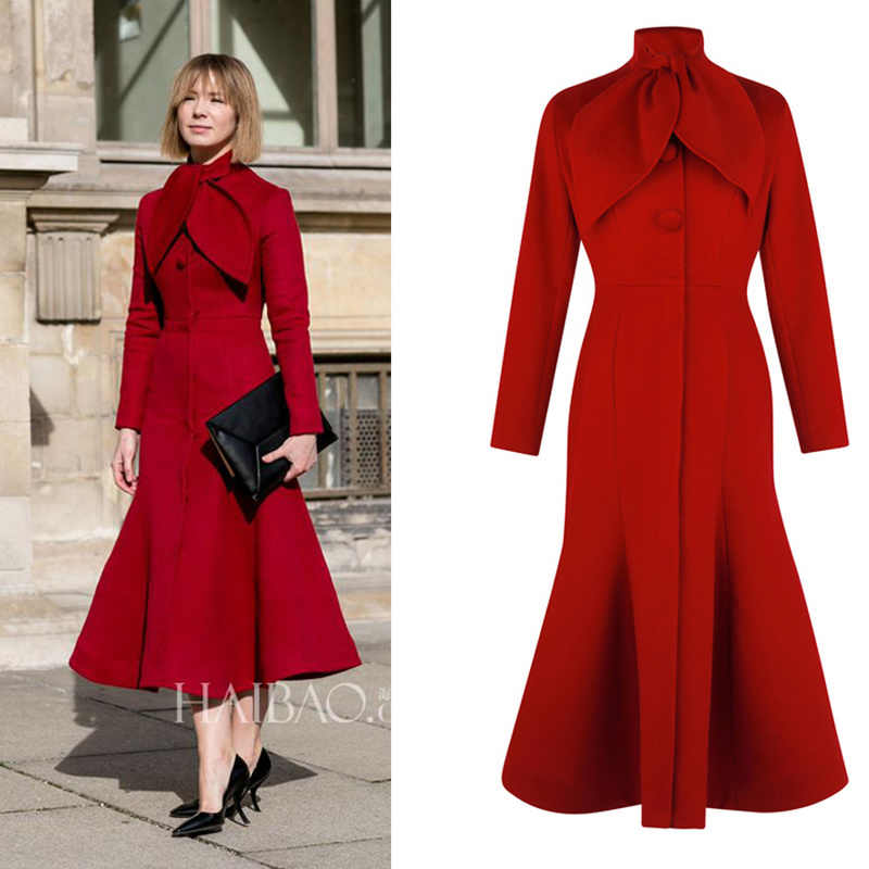 Korean Winter Female Coats for Women Red Cashmere Plus Size Cape Original Vintage Cashmere Woolen Coat Long Fishtail Coat Female